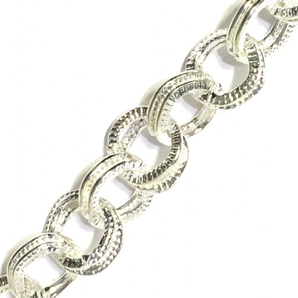 1 meter x 8*7mm silver plated double link chain - 6523041